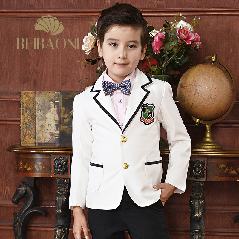 3-15T Boys Communion Suits White Blazers Pants Sets Childern Groom Formal Prom Party Performance Costume Wedding Suit New 2016 new arrival fashion baby boys kids blazers boy suit for weddings prom formal wine red white dress wedding boy suits