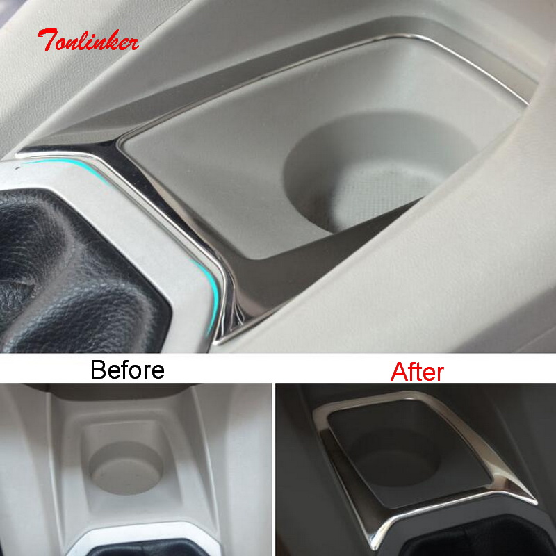 Tonlinker Interior Center Storage Cover Sticker For Citroen C-Elysee/Peugeot 301 Car Styling 1 Pcs Stainless Steel Cover Sticker