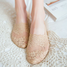 2pcs/1pair Women Short Sock Slippers Silicone Non-slip Low Cut No Show Boat Socks Female Summer Sexy Lace Invisible Meias
