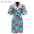 Moda Algodão Curto Robe Impresso Camisola da Flor Da Noiva Do Casamento Da Dama de honra Vestido Da Menina Pijama Roupão Quimono