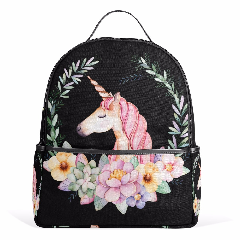 New Canvas Backpacks Women Pretty Unicorn Flowers School Backpack Bags for Boys Girls Cute Cartoon Animal Backpack Gift for Kids