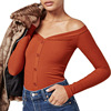Sexy Off Shoulder Knitted Pullovers Women Tunic Shirt Elegant V Neck Tight Blouse Female Buttons Tops
