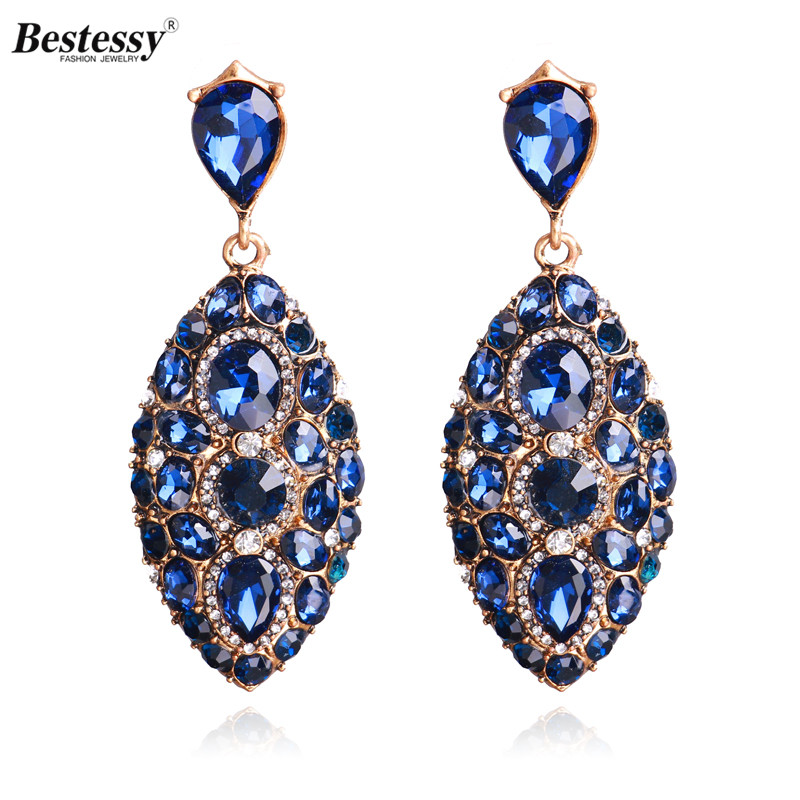Bestessy New Luxury Flower Earrings Blue Gem Brand Party Antique Statement Vintage Drop For Women Wedding Gift In From Jewelry
