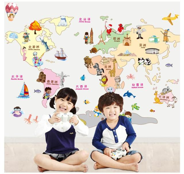 Creative cartoon animals world map wall decal sticker for kids room creative cartoon animals world map wall decal sticker for kids room nursery classroom decoration wall stickers gumiabroncs Images