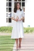 Xl! 2017 אביב מותג חדש לבן dress הנשים פיטר צווארון מחבת גדולה נדנדה aline בכושר רזה שרוול קצר לבן מוצק dress Elegants