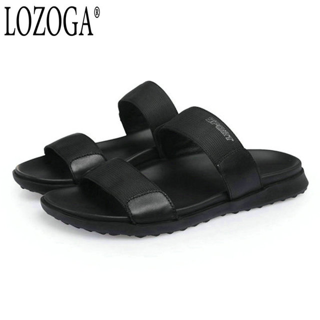 0b4014885ecf1e Lozoga Men Sandals Open Toe Summer Casual Sandals High Quality Handmade  Concise Beach Shoes Black Luxury Brand Shoes Comfortable