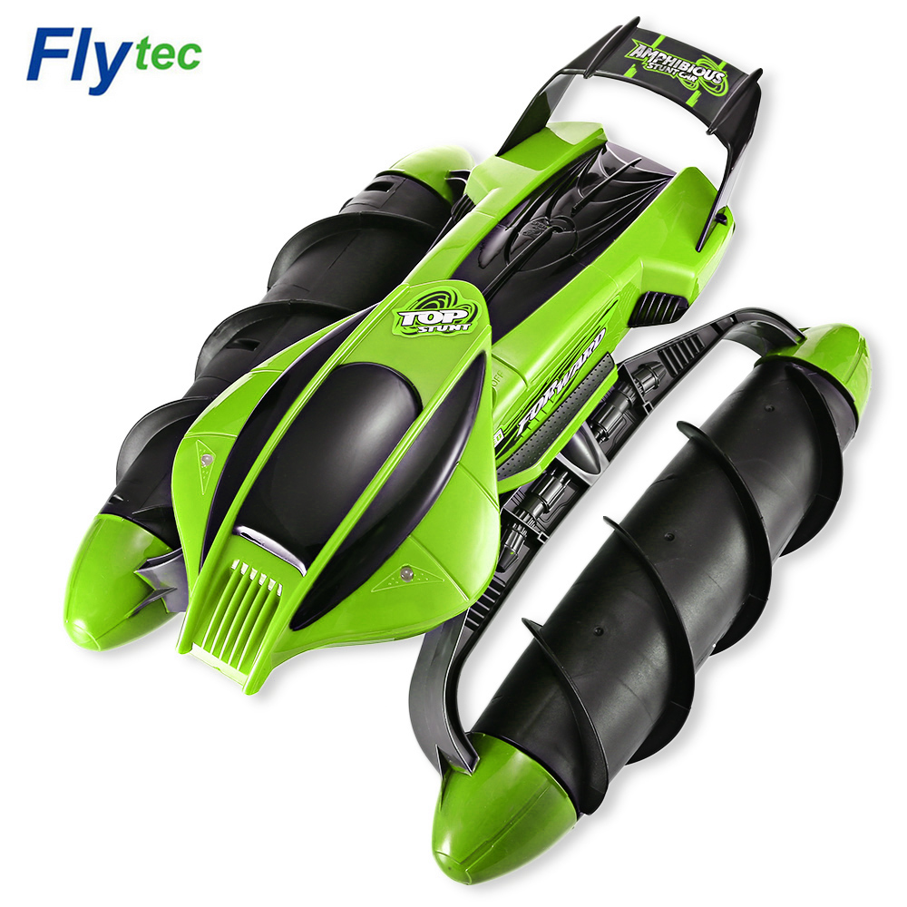 Flytec Multi-Function RC Boat / Tank / Car On Water Grass Sand Children Remote control Toy Amphibious Stunt RC Tank Car