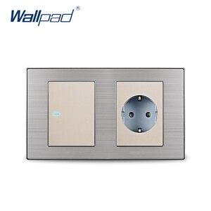 Image 2 - 2019 Wallpad 1 כנופיית 2 דרך מתג עם האיחוד האירופי תקן גרמני Schuko שקע קיר שקע חשמל Outlet סאטן מתכת פנל LED מחוון