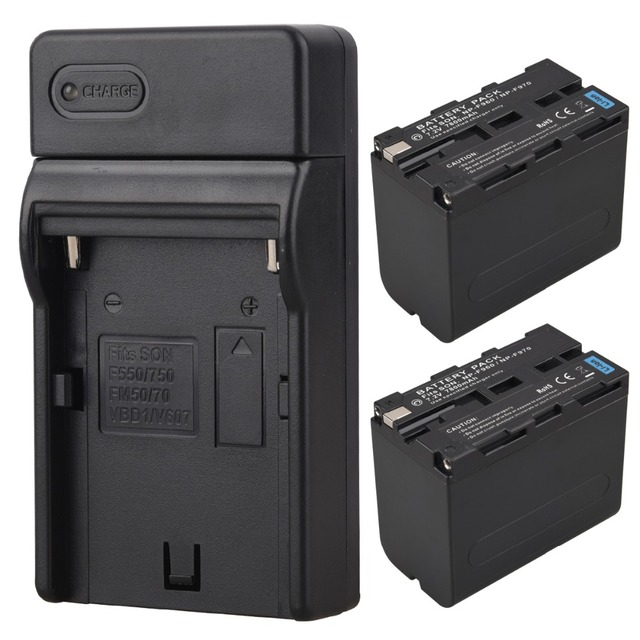 2pcs 7800mah High Capacity NP-F960 NP-F970 digital camera batteries For Sony F960 F970 Battery With Charger
