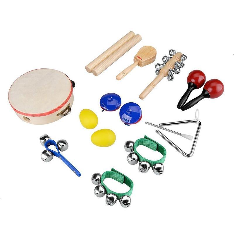 10 pièces Instruments de Percussion Ensemble Main Cloche Enfant Éducation Précoce Jouets Musicaux Bande Ensemble Bambin En Bois Percussion Jouet pour Enfants