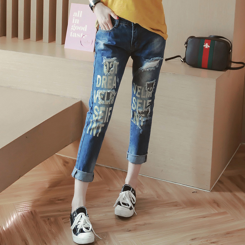 2017 Fashion spring summer large letter print new women's wear white hole grinding patch work ankle length washed denim jeans