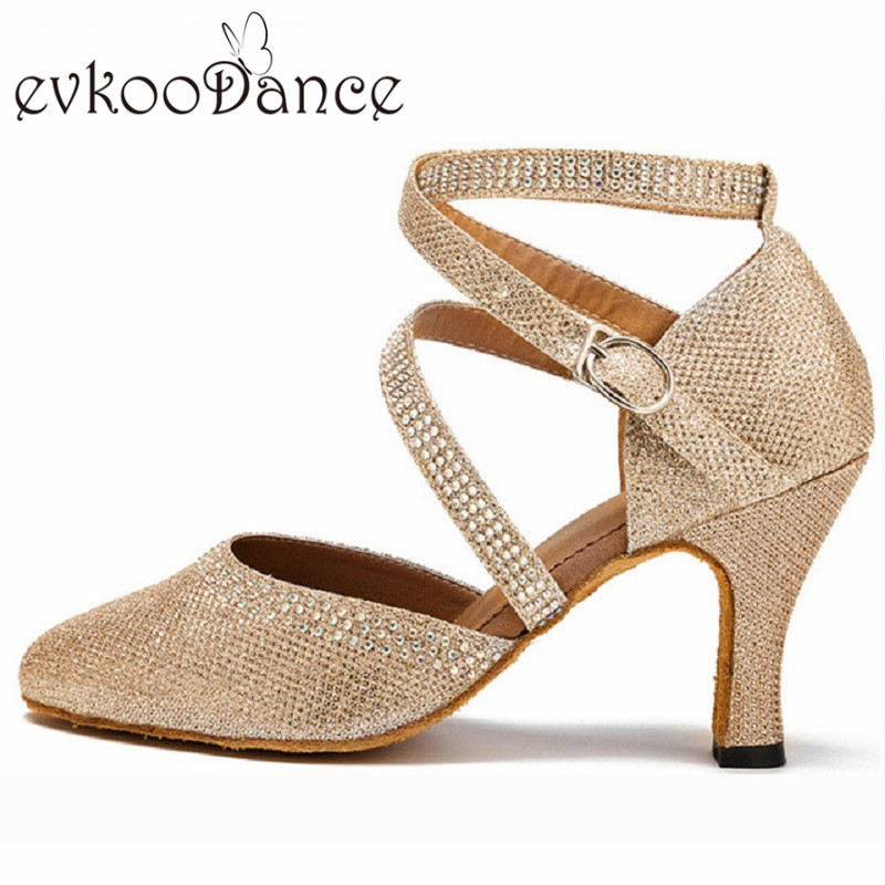 Evkoodance Zapatos De Baile Gold Or Silver Glitter With Rhinostone Heel Height 8cm Ballroom Dance Shoes For Women Evkoo-477 цена