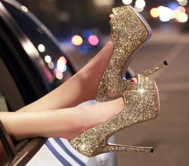 ФОТО 2017 Newest bling bling gold glitter embellished high heel shoe sexy peep toe platform pumps for woman super high wedding heels