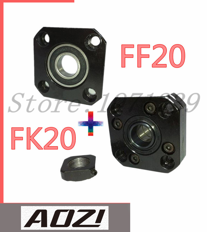 1pc FK20 Fixed Side +1pc FF20 Floated Side for XYZ CNC parts FK/FF20 Support For Ball Screw 2505 noulei ball screw end supports cnc xyz fk20 ff20 with nut deep groove ball bearing inside