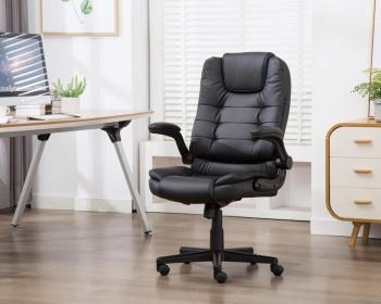 Leather Office Executive Compute Chair with Foldable Arms, Ergonomic Swivel Computer Desk Chair executive office chair in velvet microfiber with nylon casters office furniture computer desk task ergonomic boss chair for home