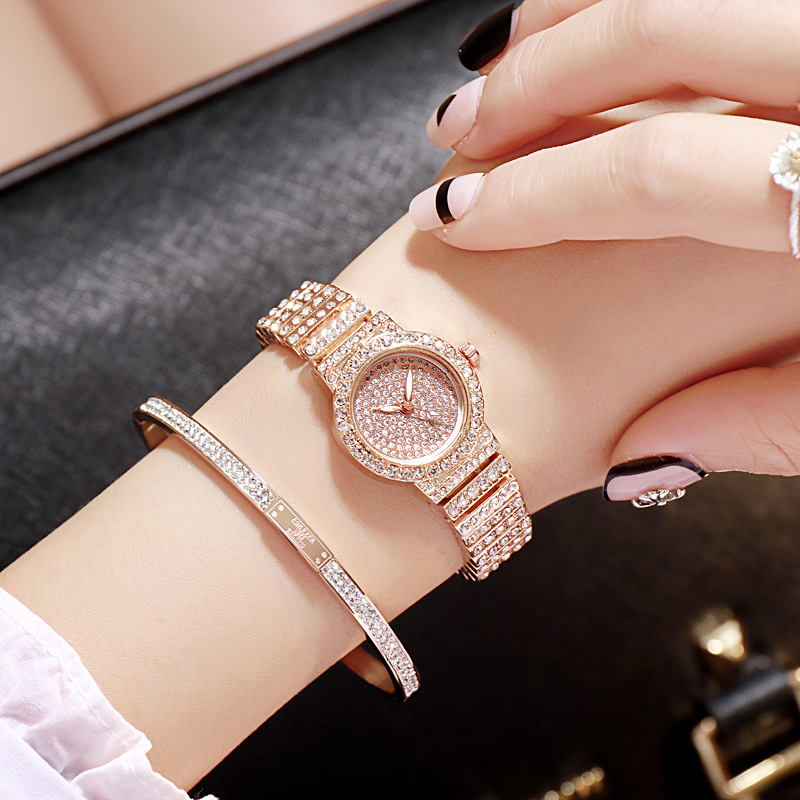 Women Starry Sky Watch Stainless Steel Bracelet Rose Gold Quartz Ladies Wristwatch 2019 Fashion Trends Rhinestones Girls Clock