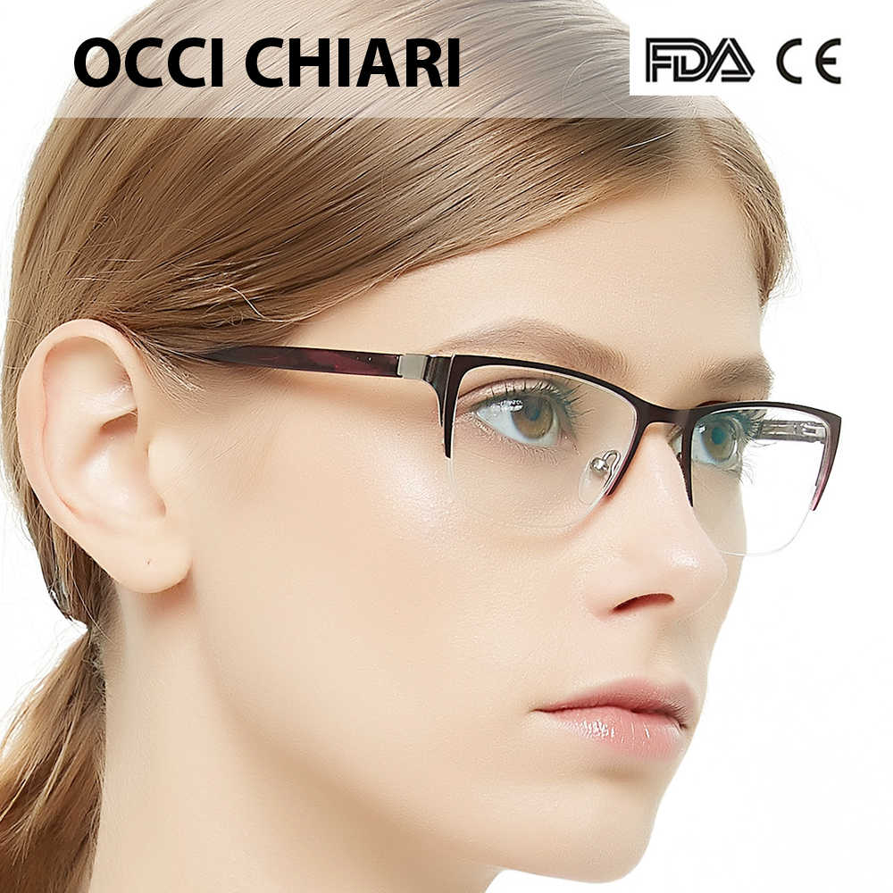 5d12a224f0b OCCI CHIARI Women Eyeglasses Spectacles Oculos Half rim 2018 Fashion  Acetate Myopia Clear Lens Eye Glasses
