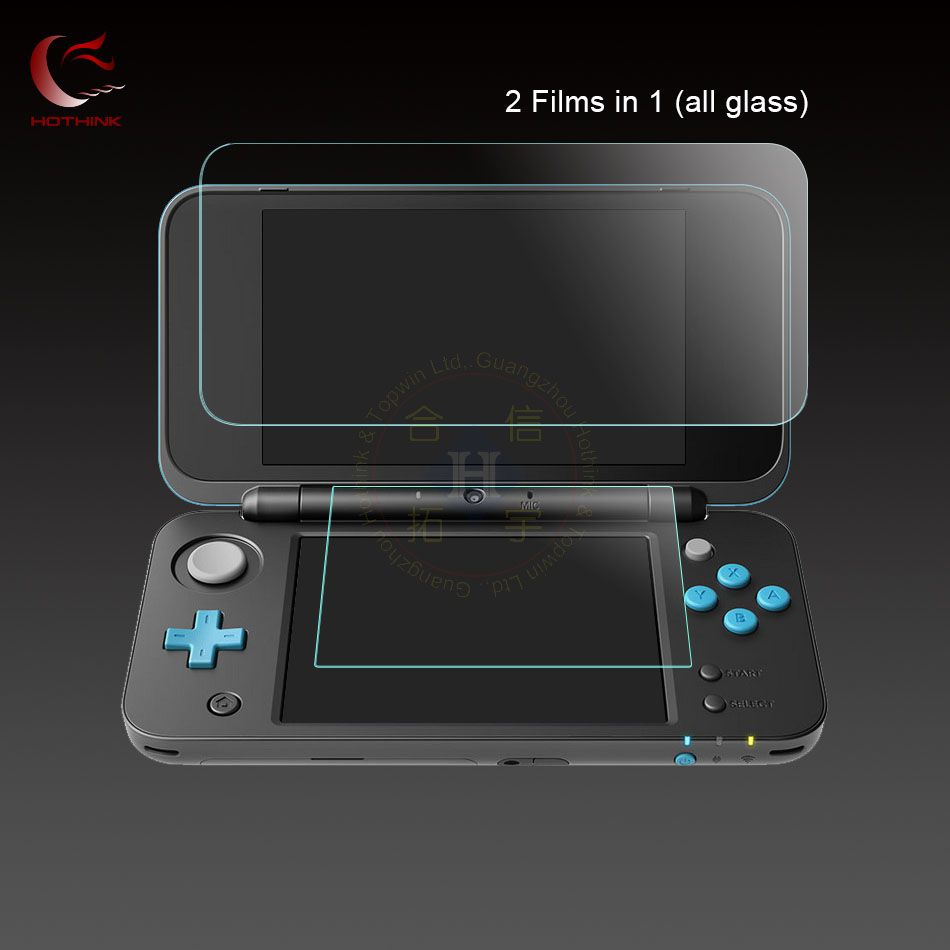 HOTHINK supper thin 9H 0.26mm Top Upper Glass Screen Protector Film + 0.18 mm Bottom Glass Film For Nintendo NEW 2DS XL / 2ds ll
