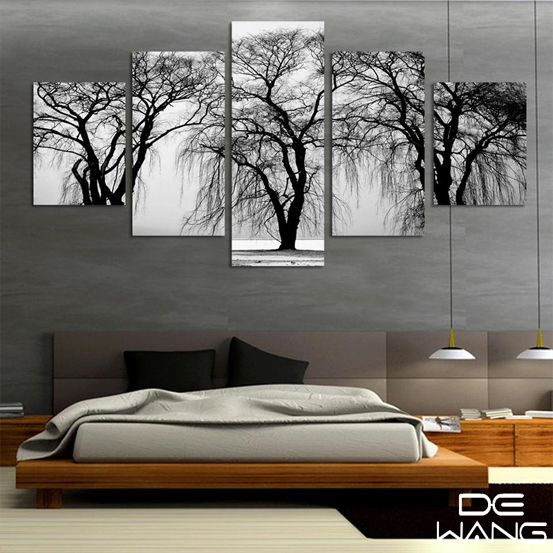 Buy 5 pieces canvas wall art black and for Decoration murale wish
