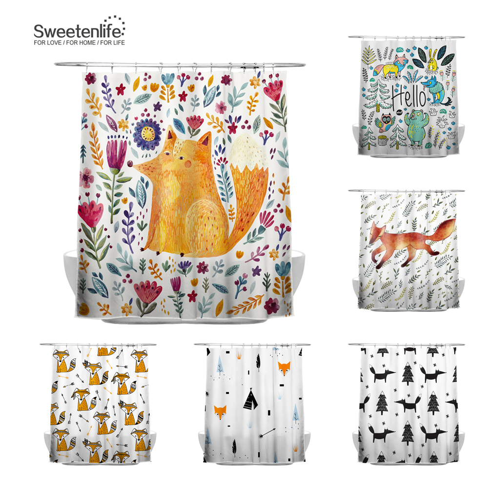 Sweetenlife 150x180cm Cute Fox Shower Curtain For Bathroom Polyester Fabric Waterproof European Style Bath