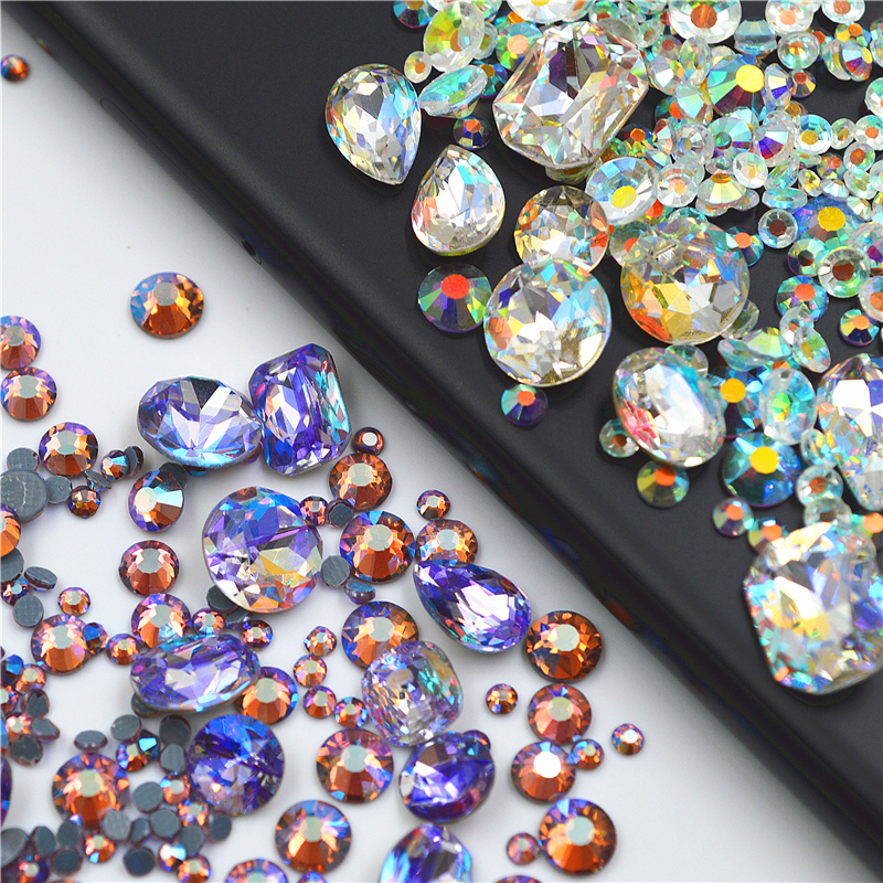 Mixed size color 3D Nail Art Decorations Non Hotfix crystal Rhinestones DIY nails jewelry accessoires beauty manicure tool strass glass ab rhinestones non hotfix ss20 4 8 5 0mm for 3d nails art design decorations crystal for nails gel nail accessories