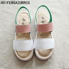 HUIFENGAZURRCS-Genuine Leather Sandals,pure handmade shoes,the retro art mori girl Flats shoes, literature Casual shoes