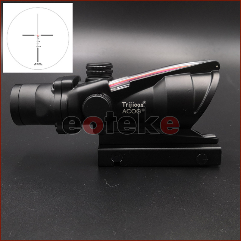 ACOG 4X32 Real Fiber Optics Red Dot Illuminated Chevron Glass Etched Reticle Tactical Optical Sight 11mm