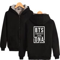 BTS Women Hoodies Sweatshirts With Zipper Bangtan Boy Thickened Funny Hooded Sweatshirts Warm Winter Coat Girls