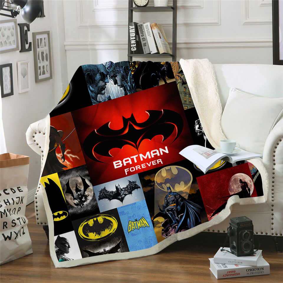 Batman 3d Printed Sherpa Blanket Couch Quilt Cover Travel Youth Child Bedding Outlet Velvet Plush Throw Fleece Blanket Bedspread