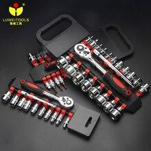 """LUWEI CR V cırcır anahtarı 1/2 """"3/8"""" 1/4 """"anahtar alet seti soket setleri profesyonel tamir araçları"""