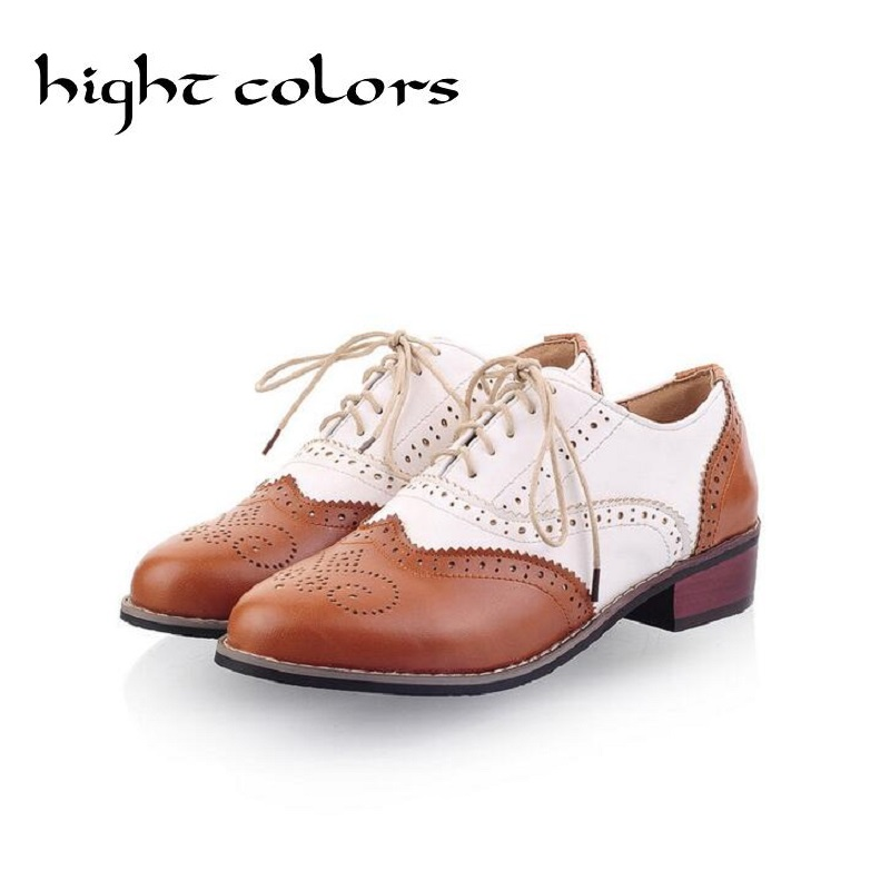 2017 Hot Sale Ballerina Flats Shoes For Women Color Block Oxford Casual Flat Shoes Moccasins Lace Up Loafers Black Shoes Woman