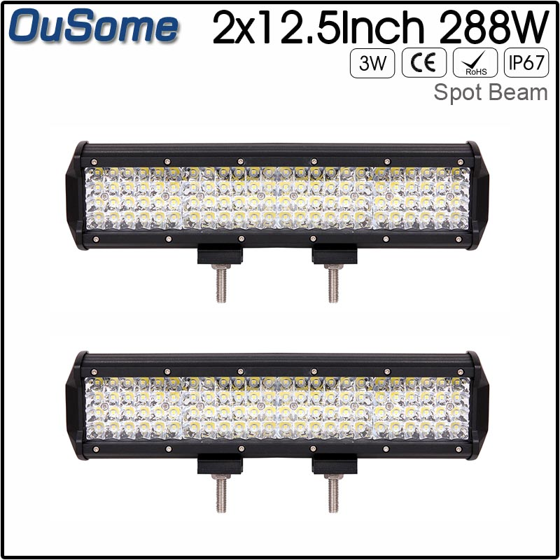 2 pieces 4 rows 12.5inch 288W LED Light Bar Offroad Car Auto Led Work Light Bar for Trucks Boat ATV SUV 4X4 4WD DC12v 24v