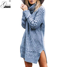 Gold Hands Turtleneck High Split Knitting Sweater Women Autumn Winter Long  Sleeve Double Colored Pullover Pull dc87c9fb8