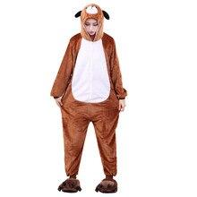 Взрослых Кигуруми коричневый собака фланелевый комбинезон цельный пижамы  животных собачка пижамы для женщин и мужчин для Хэллоуи.. 869bd97baa484