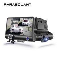 PARASOLANT Three Lens Drive Recorder Full HD 1080P Car Recorder Reverse Display Dash Cam HD Night
