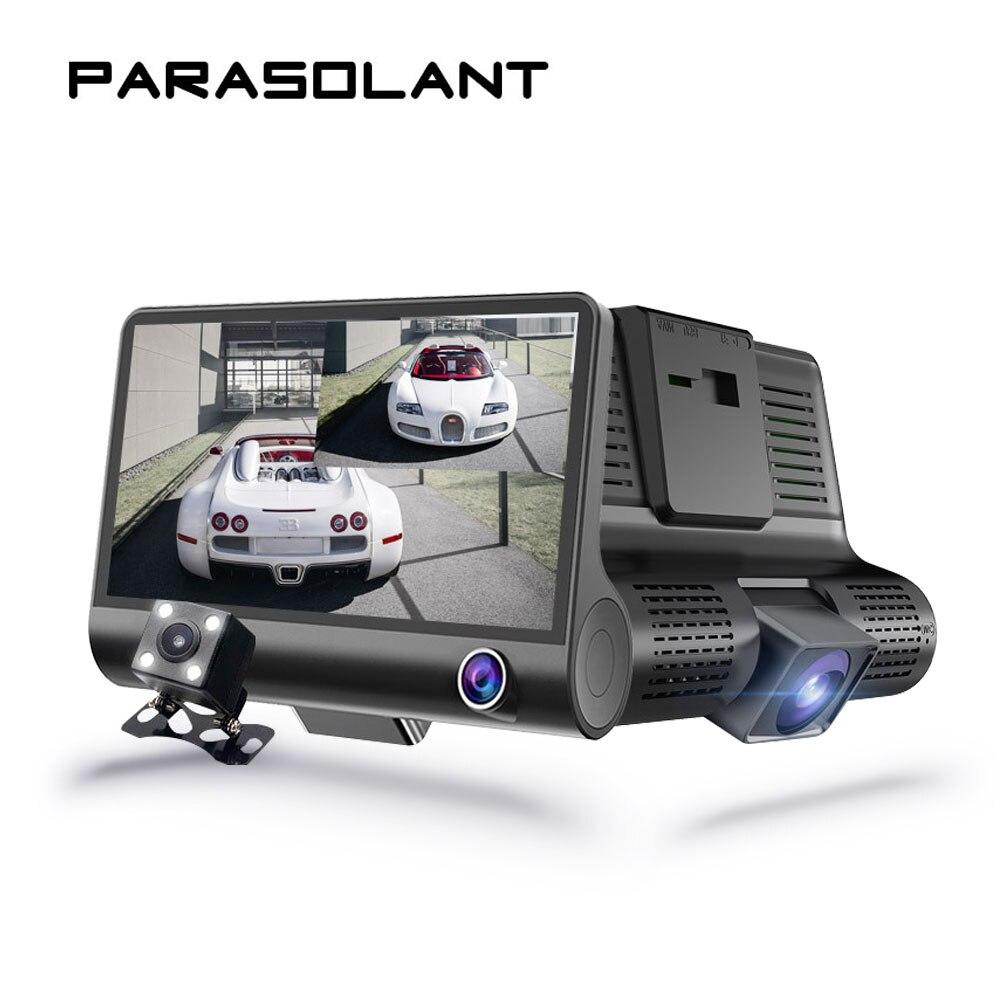 PARASOLANT Three-lens Drive Recorder Full HD 1080P Car Recorder Reverse Display Dash Cam HD Night Vision Car Camera Car DVR