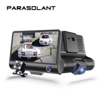 PARASOLANT Three Lens Drive Recorder Full HD 1080P Car Recorder Reverse Display Dash Cam HD Night