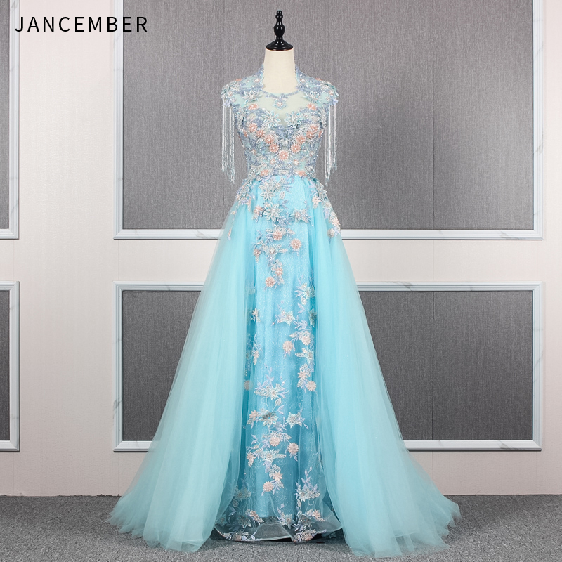 JANCEMBER vestidos largos Appliques Beading Flowers Pearls Tassel Candy Color Sleeveless High-Neck A-Line women   evening     dress