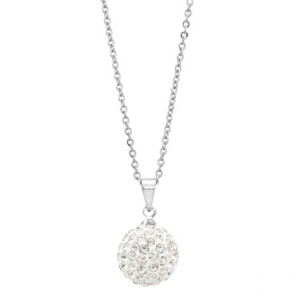 Fashion 12mm Disco Pave Ball Charm Pendant Necklace For Holiday Gift