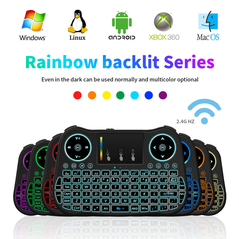 Rainbow Backlit MT08 Wireless Mini Keyboard 2.4G Touchpad Backlight Mini PC USB Air Mouse Remote Control For Android TV Box i8 t2 2 4ghz ultra thin wireless mini keyboard with touchpad mouse colorful backlit