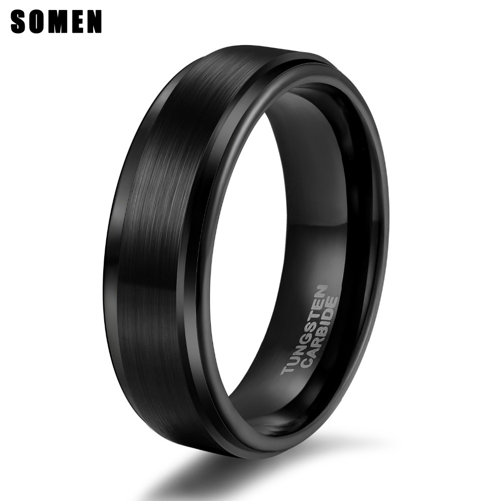 Somen Rings For Women 6mm Black Tungsten Ring Matte Brushed Wedding Band Classic Style Engagement Rings Jewelry anillos mujer