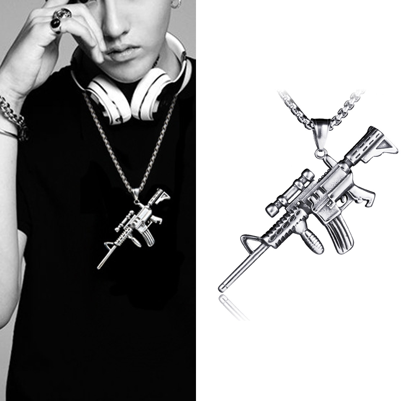 Hip Hop Rock Ancient Titanium Steel Ak47 Gun Pendant