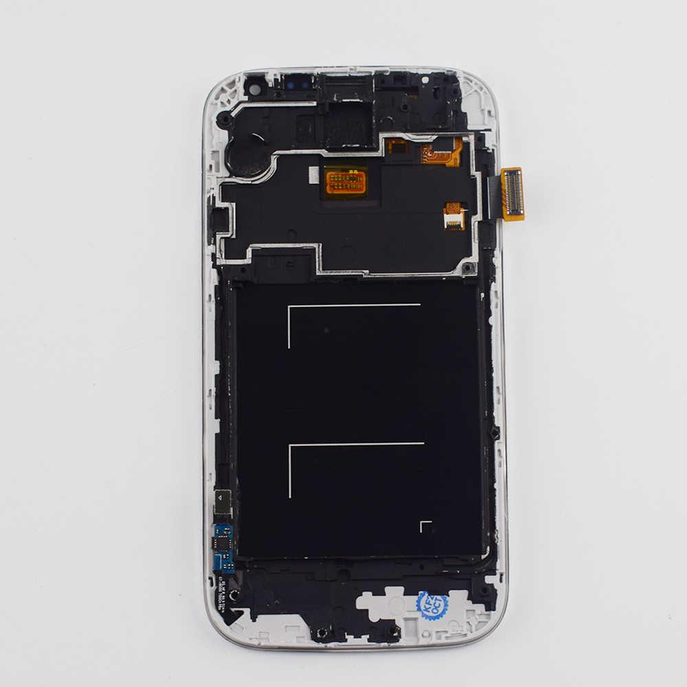 I9500 LCD أسود/أبيض لسامسونج غالاكسي S4 i9500 i9505 شاشة الكريستال السائل لوحة مراقبة + مجموعة المحولات الرقمية لشاشة تعمل بلمس مع الإطار