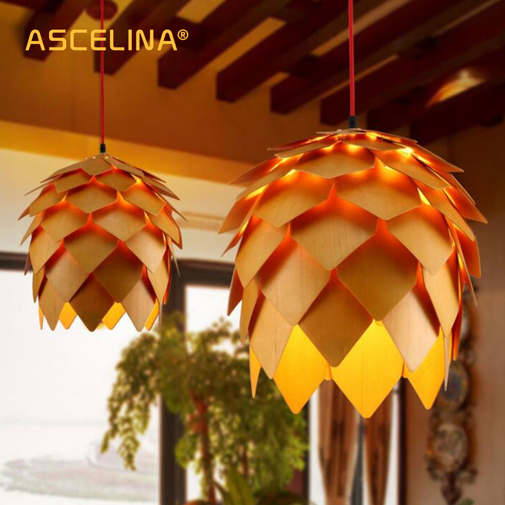 Nordic Wooden Pendant Light Pine Cone  Wooden Pendant Lamp DIY American Modern Hanging Lamp Living Room Dining Room Bedroom Cafe