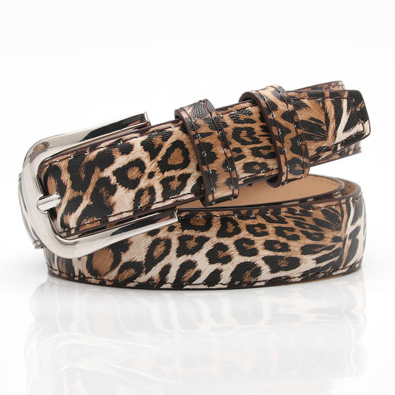 Female Pu Leather Leopard Waist Belt Women Pin Buckle Belts 2019 Hot Designer Belts For Women's Dress Cinto Feminino