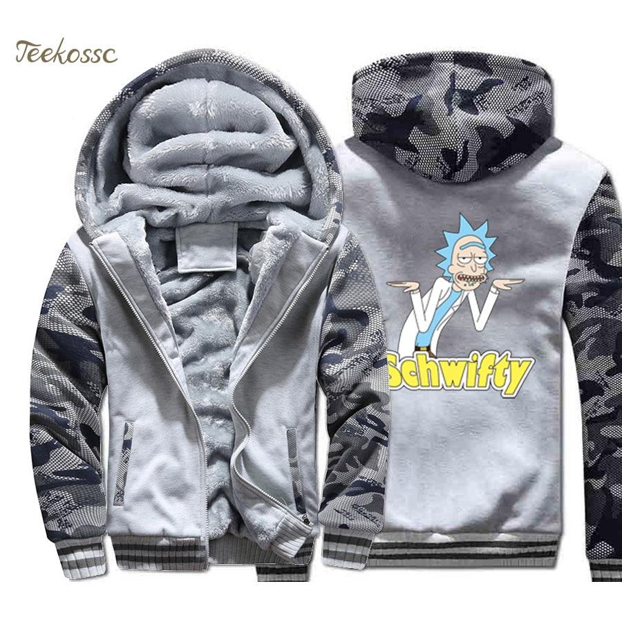Rick Schwifty Hoodie Men Funny Print Hooded Sweatshirt Coat 2018 Winter Warm Fleece Thick Zipper High Quality Camouflage Jacket in Hoodies amp Sweatshirts from Men 39 s Clothing