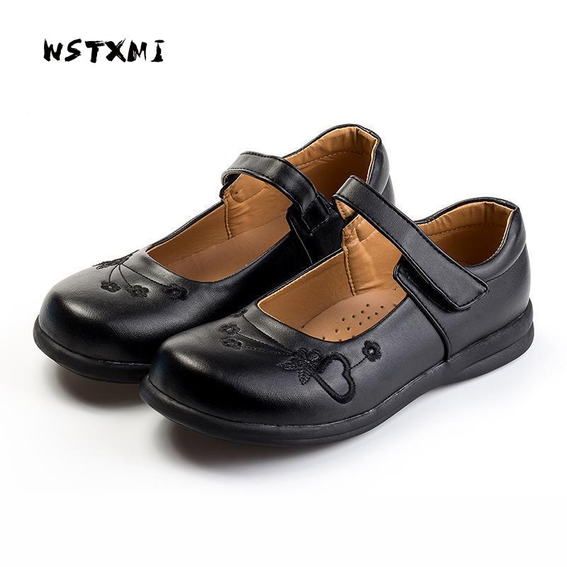 Girls Dress Leather Shoes for Children Flower Black Wedding Princess Shoes Kids Etiquette School Shoes PU Leather Rubber Sole