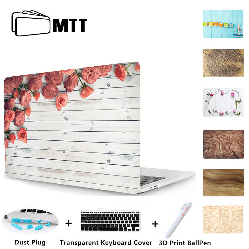 MTT Wood Grain Hard Case For Macbook Air 11 13 Pro 13 15 Retina Touch Bar Cover for Apple Mac book New 12 inch Shell Laptop Case stylish silver plated cut out rhinestone heart earrings for women
