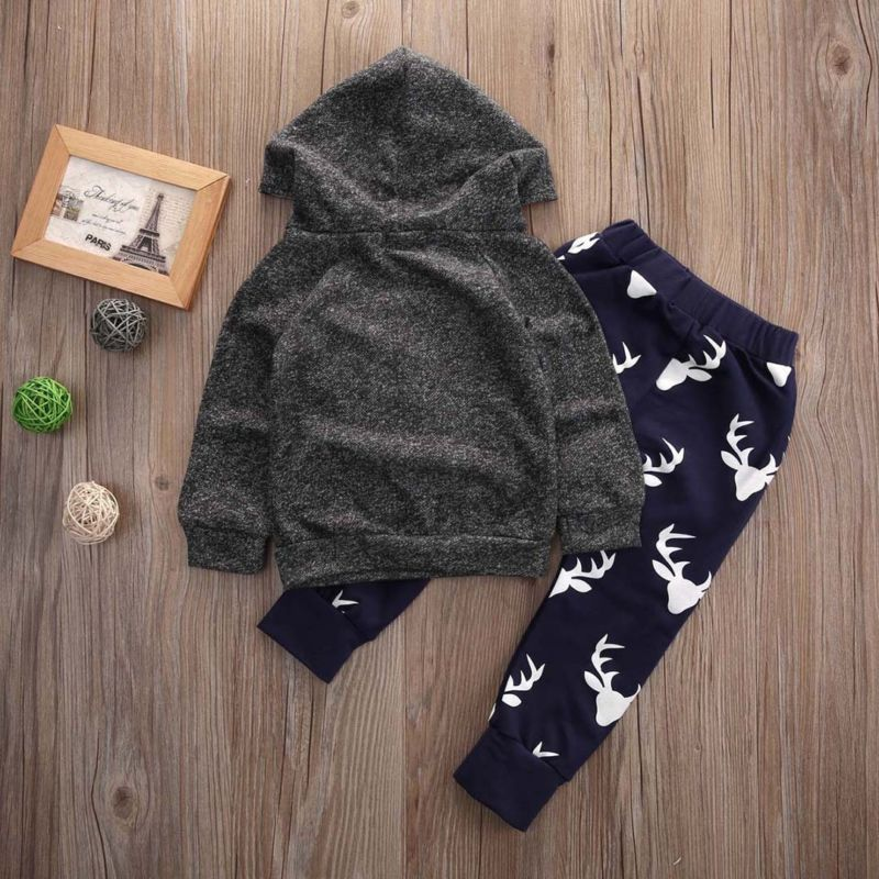 Newborn Infant Baby Boys Grey Deer Pocket Hooded Tops Long Pants 2Pcs Outfits Set Clothes 0-18 Month