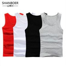 2018 New Mens Close fitting Vest Fitness Elastic Casual O neck Breathable H Type All Cotton Solid Undershirts Male Tanks